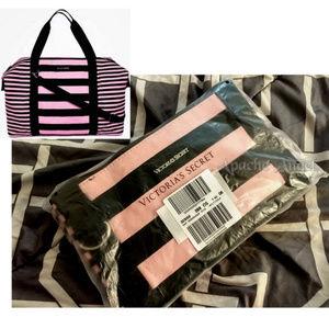 Victoria's Secret  Pink/Blk Weekender Tote New